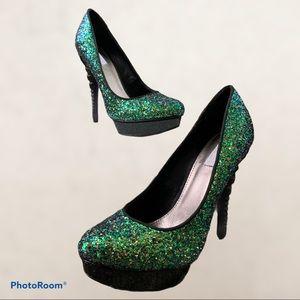 Rachel by Rachel Roy Green Sparkle HIGH heels